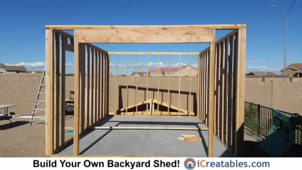 Shed garage door header framing