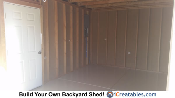 12x16 shed man door interior wall frame