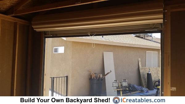 Shed plans home built garage door shed with roll up door
