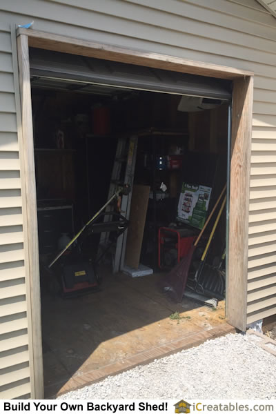 Shed garage door framing trim