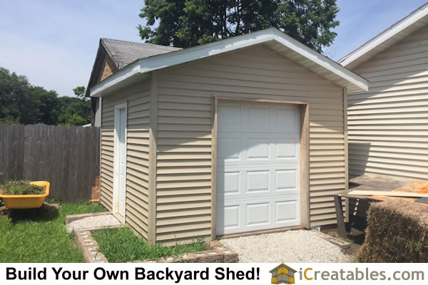 completed 12x16 shed with 6' x 7'garage door