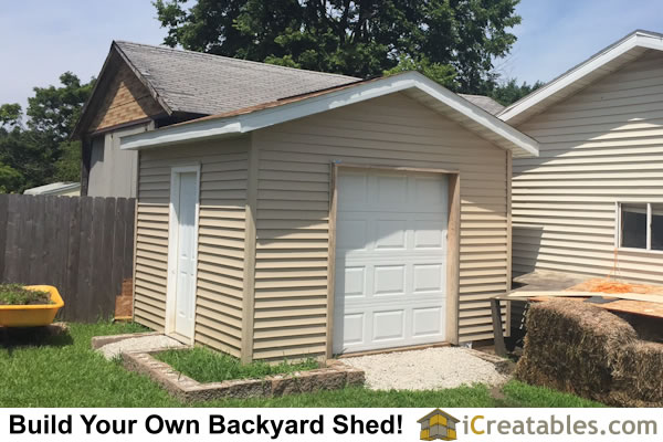 12x16 Backyard Shed with Garage door Plans by iCreatables.com