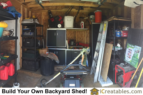 Shed storage including purchased shelving