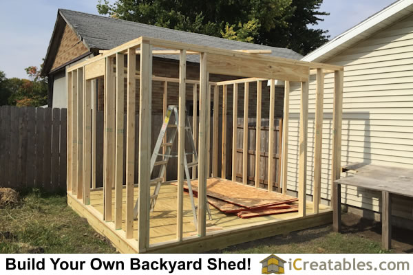 shed with garage door wall framing