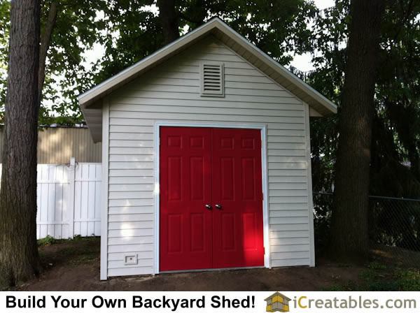 Large doors on 10x12 shed plans. Backyard storage shed plans.