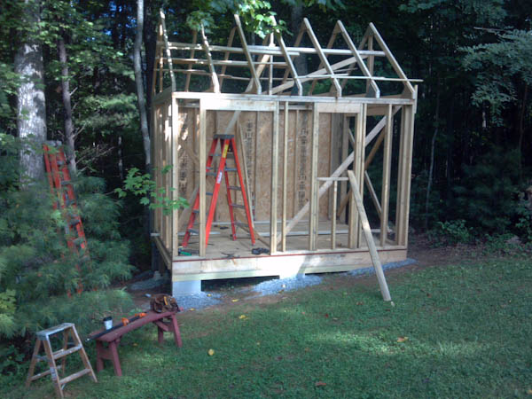 10x12 cape cod shed rough framing