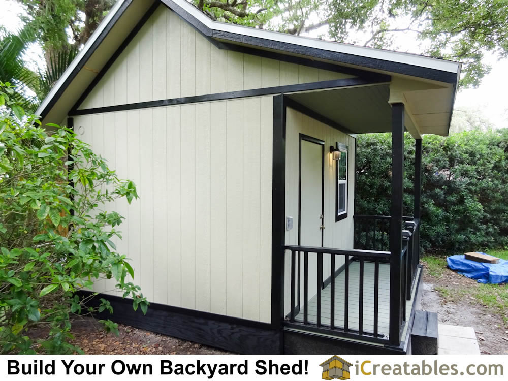 The covered porch area on this shed makes an inviting space that looks at home in any backyard or garden.