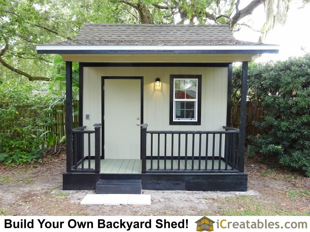 10x12 Backyard Garden Shed Plans with a deck porch and handrail.
