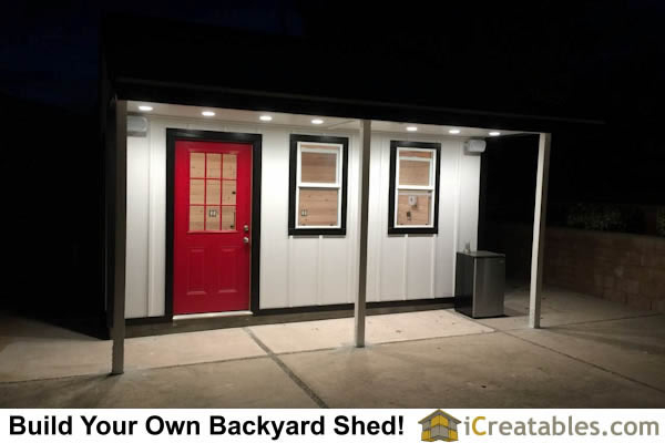 10x16 garden shed with extrior lighting.