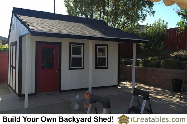 Completed 10x16 garden shed with a porch. The perfect workshop!