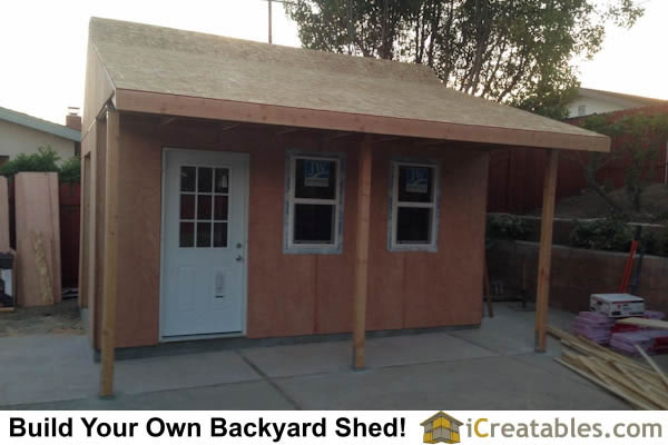 Windows and doors installed. Trim covers the gaps and gives the shed its finished look.