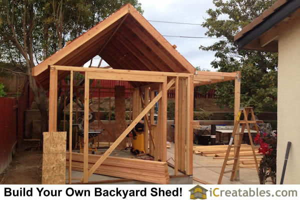 how to support a stick frame roof with wood