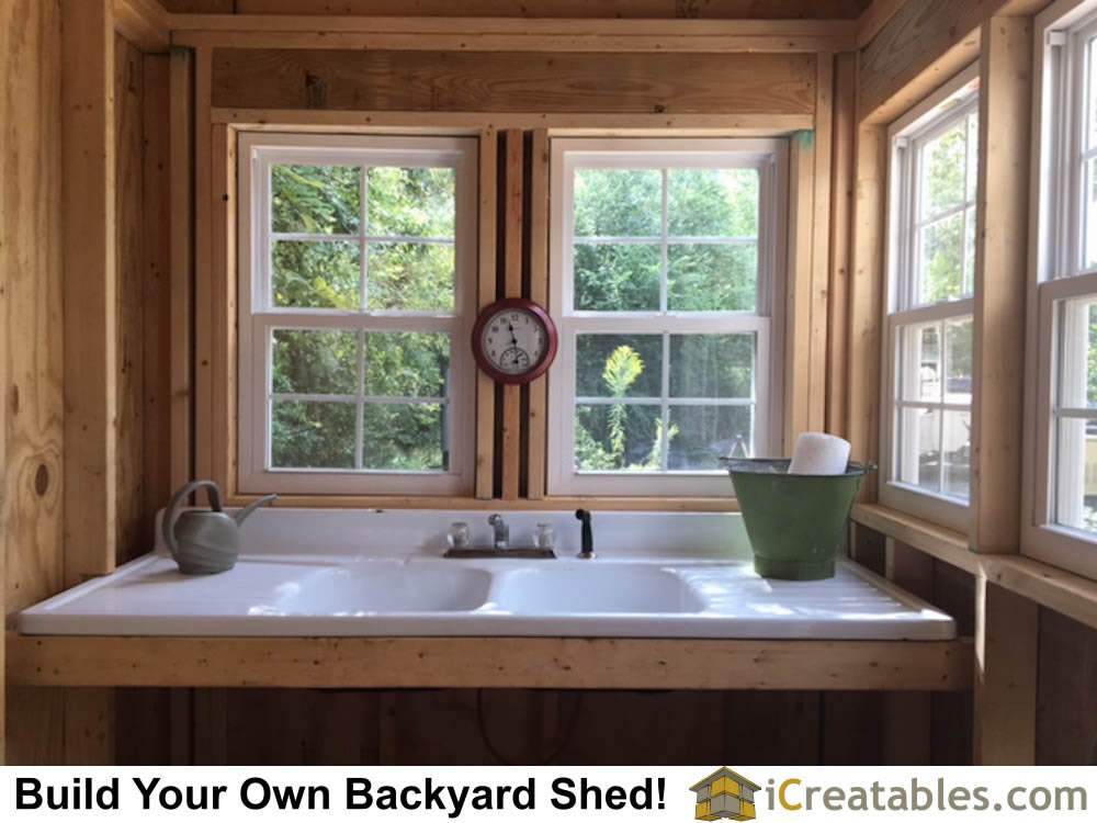 backyard shed with sink