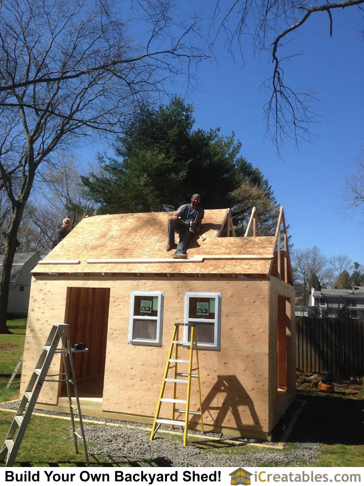 The roof sheeting is installed on the trusses. This is described in the How To Build A Shed Manual.