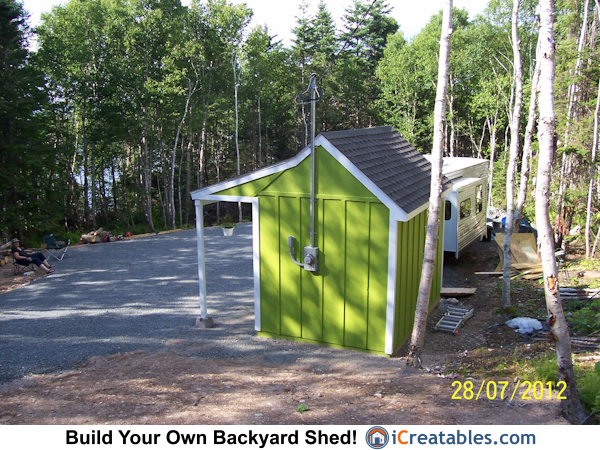 rear view of garden shed with electrical service pole - Garden Sheds Virginia