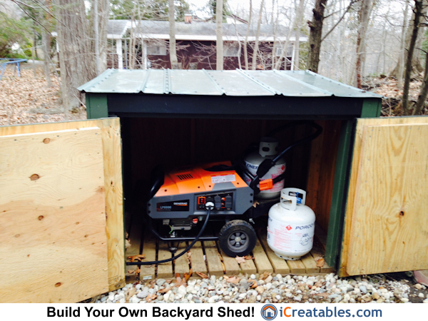 Propane Generator shed with doors open