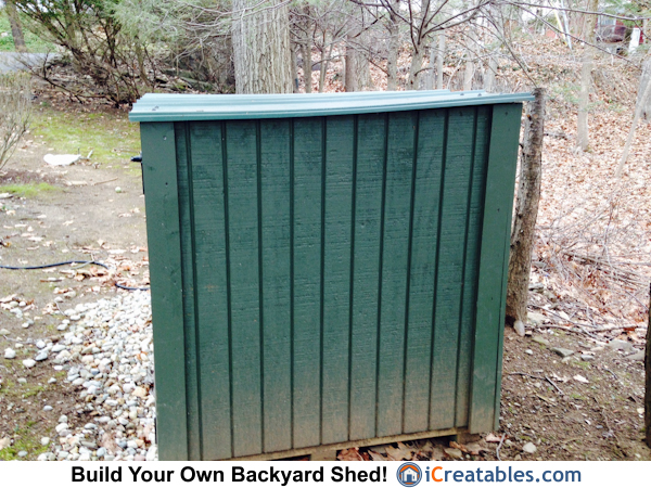 End of generator shed with out doors