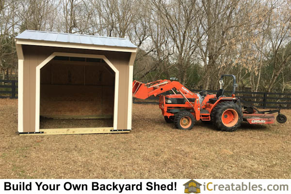10x10 Run In Shed built on wood skids so it can be towed and moved with a tractor.