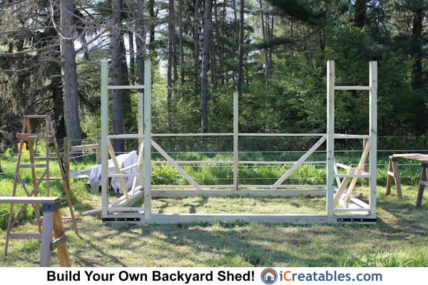 10x14 run in shed set posts