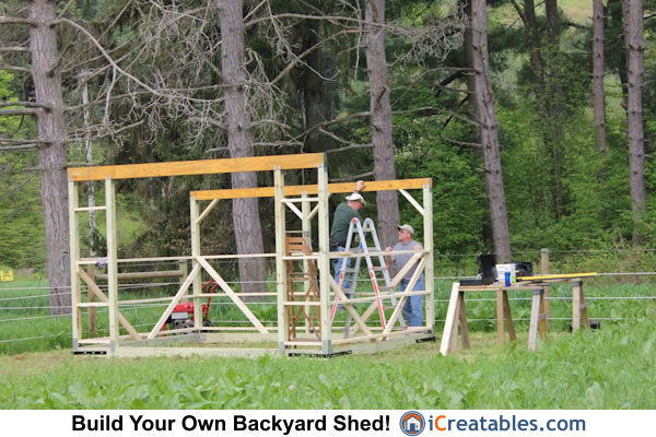 10x14 run in shed set wall posts