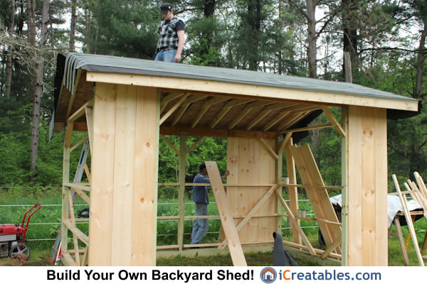 Run in shed siding and roofing install
