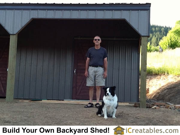 Proud owner of new 2 stall horse barn with metal siding over horizontal girt boards.