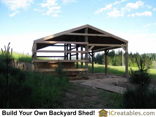 Post and beam 2 stall horse barn plans girt boards attached.