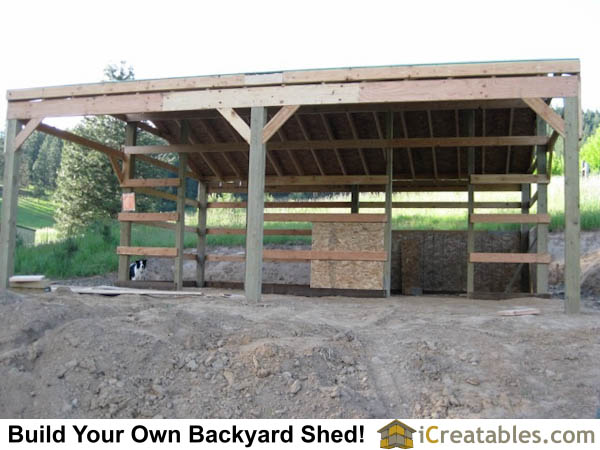 Framing post and beam construction 2 stall horse barn.