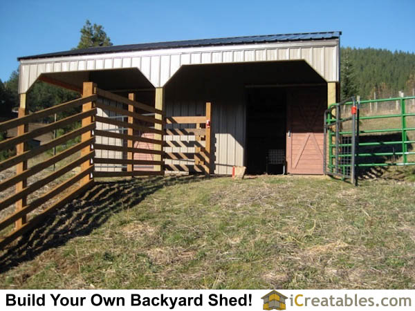 Small 2 stall horse barn plans with lean to shed roof completed.