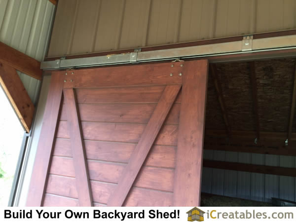 Close up of home built horse barn doors.