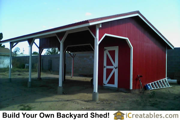 22x30 Run in shed plans or Loafing shed with tack room completed. The rear walls were left off and horse panels will be installed.