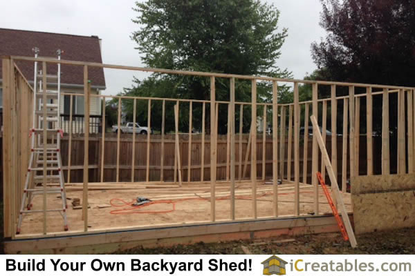 16x24 Large shed wall framing.