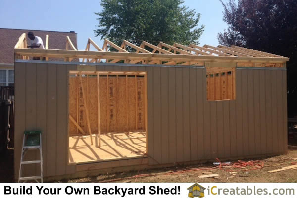 16x24 Large shed roof framing.