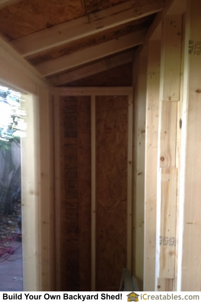 Interior framing for roof and walls of 3x12 lean to shed design