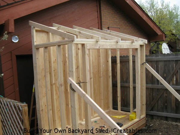 lean to shed rafters installed on shed walls