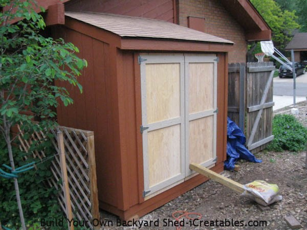 both doors installed on storage shed