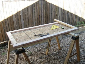 shed door construction-inner panel and 2x4 frame