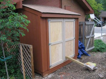 shed doors hung on shed