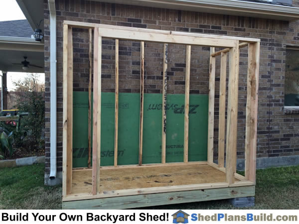 Lean to shed walls framed from plans by iCreatables.com