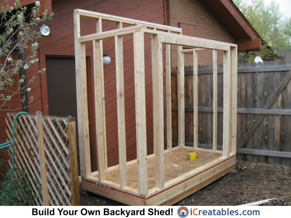 Lean to shed wall and door framing