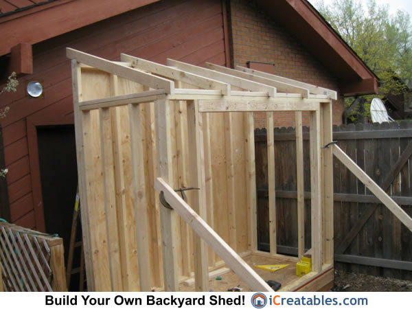 Lean to shed roof framing.