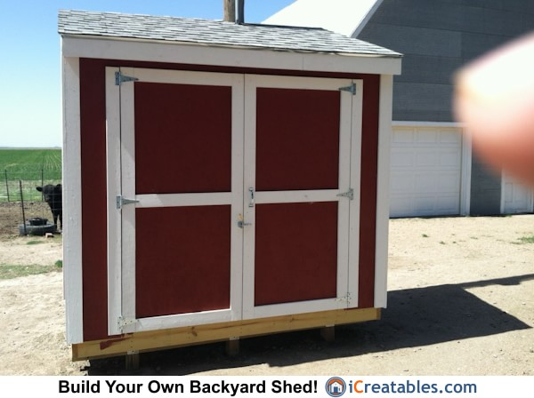 4x8 lean to shed front elevation
