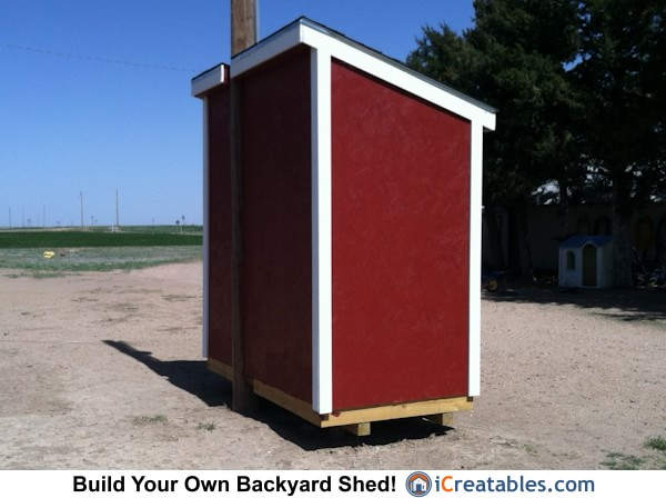 4x8 lean to shed rear elevation
