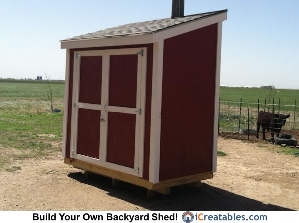 4x8 lean to shed right elevation