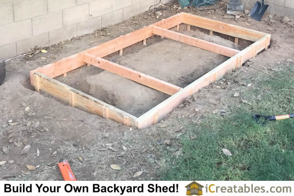 How to set up forms for a concrete footing and floor slap for your storage shed.
