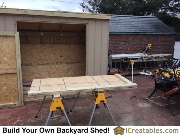 Building the shed doors.