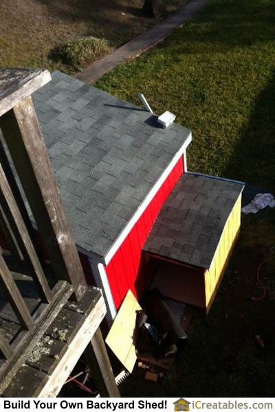 Roofing installed on dog house.