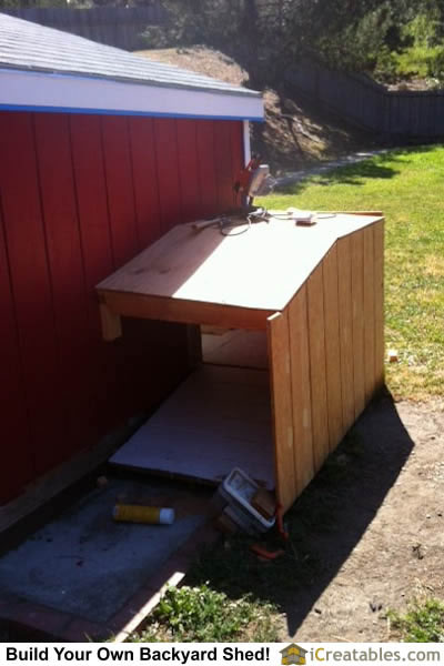 Siding and roof sheeting installed on doggie entrance into Lean to dog house plans