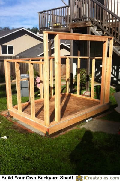 Wall framing completed on lean to shed by icreatables.com