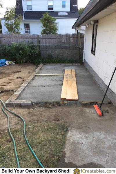Concrete slab poured for storage shed floor.